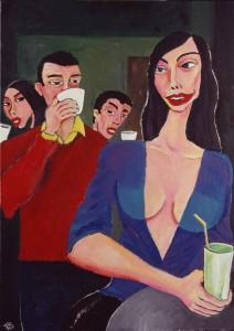 """""""Cappuccino italiano sulla rambla"""", illustrazione di Gianni Allegra"""