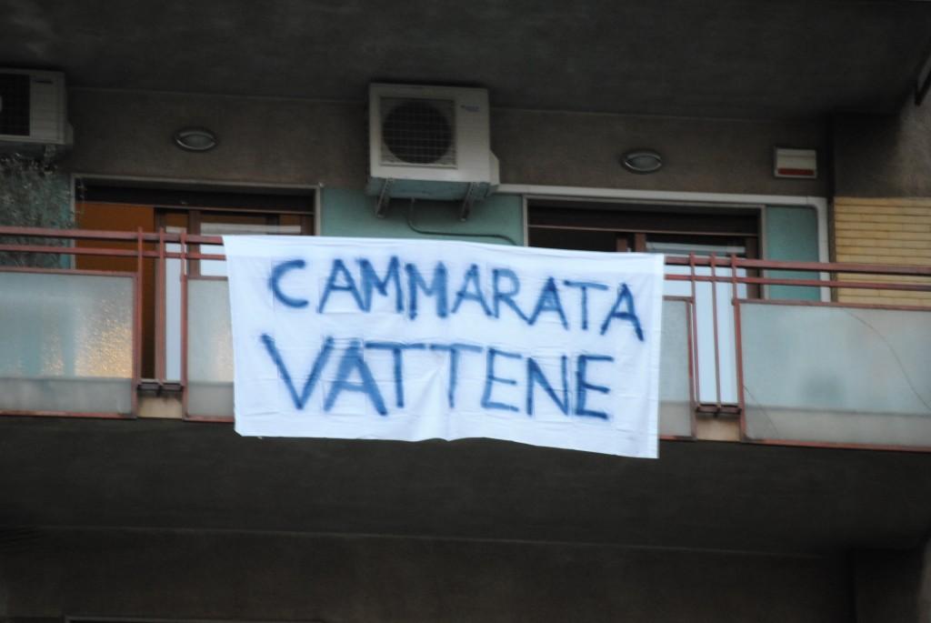 Lenzuolo contro Diego Cammarata, sindaco di Palermo