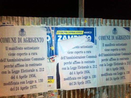 manifesti elettorali agrigento zambuto