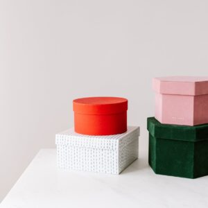 set of different gift boxes on table